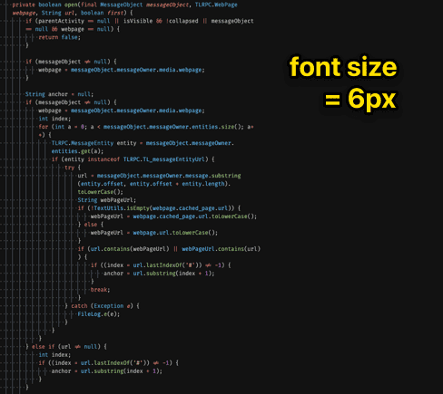 small font size